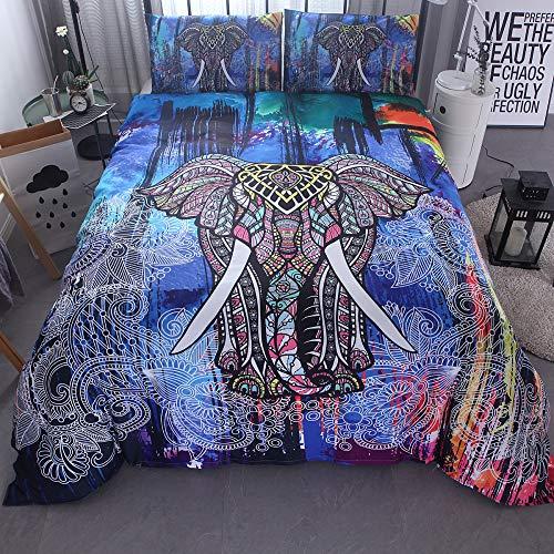 BH-JJSMGS Leichter Polyester-Bettbezug im Elefantenstil, Bettwäsche und Kissenbezug, Farbe Elefant. 200 * 200