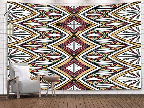 Tapices de Arte, Tapiz de Pared Colgante para D & Eacute; Cor Sala de Estar Dormitorio Folklore Adorno Tribal Textura étnica Patrón de Rayas en Estilo Azteca Figura Tribal Bordado Indio