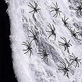 Halloween Spinnennetz Dekorationen mit 30 Spinnen aus Kunststoff für die Halloween Party
