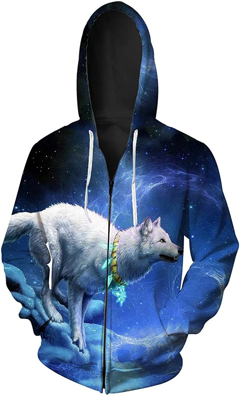 JJCat Men's Hooded 3D Digital Print Arctic Wolf Pattern Zipup Sports Outwear Cardigan Hoodies