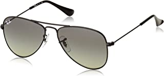 Ray-Ban Junior RJ9506S Aviator Kids Sunglasses, Shiny Black/Grey Gradient, 50 mm