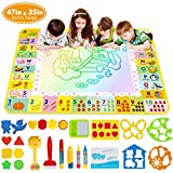 Doodle Mat - Funplus Large Size 47' X 35' of Water Drawing Mat for Kids with 4 Magic Water Pens and 17 Molds, No Mess Kids Educational Toy Gift Magic Painting Doodle Mat with Neon Colors for Toddler