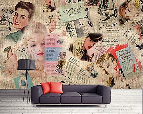 ARXBH Tapete Selbstklebende Wandmalerei (B) 400X (H) 280Cm Nostalgische Europäische Und Amerikanische Star Magazine Werbefigur 3D Tapete Kinderzimmer Wohnzimmer Schlafzimmer Restaurant Tv Wand Zurück