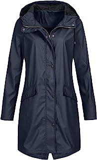 SEEGOU Chubasquero para mujer, con capucha, impermeable, resistente al viento, chaqueta de invierno, chaqueta con capucha,...