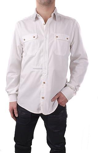 Diesel Camicia Chemise pour Hommes avec Col en Cuir Blanc