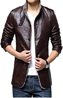 Mens Jacket Leather Biker Jacket Fashion Casual Button Thermal Leather Plush Coat Button Long Trench Coat (Color : Brown, Size : M)
