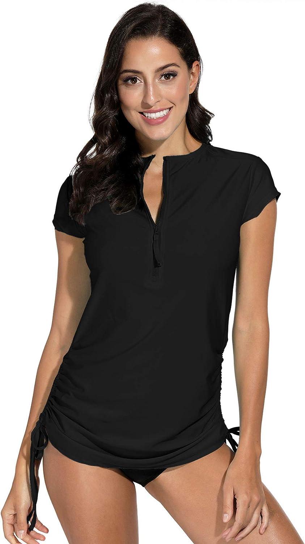 BesserBay Women's UV Sun Protection 1 4 Max 62% OFF Sleeve Short San Francisco Mall Zip Rash Gu