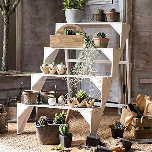 Supporto per Scaffali per Vasi da Fiori in Legno Design in Legno da Esterno Pieghevole A 4 Livelli con Display da Giardino