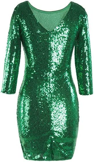 European and American Sequins Solid Color Step Skirt (Color : Green, Size : S)