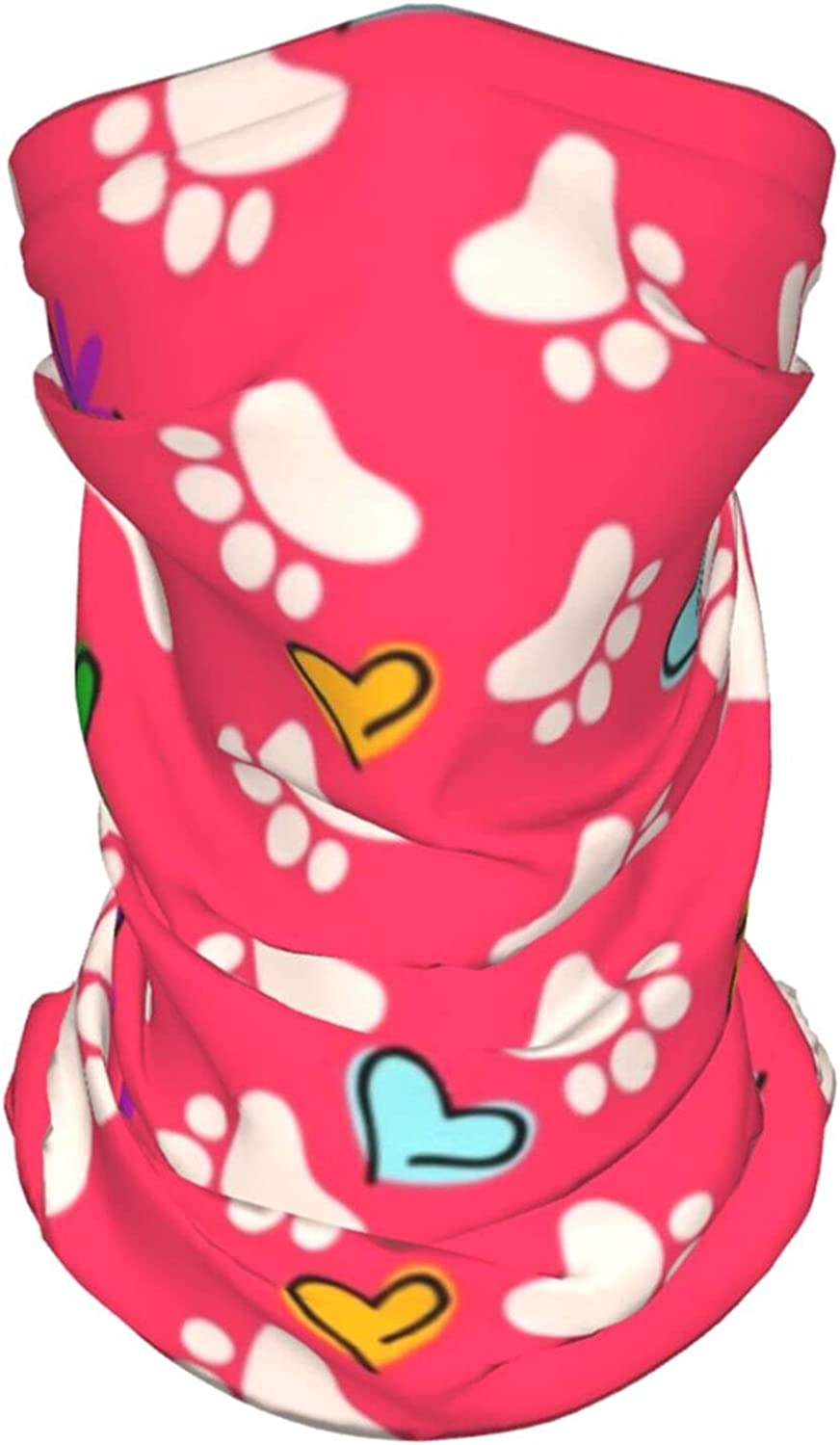 Paw Floral Cat Dog Foot with Flowers and Summer Ice Silk Breathable Face Mask Neck Gaiter Scarf Bandanas for Fishing,Hiking,Running,Motorcycle and Daily Wear