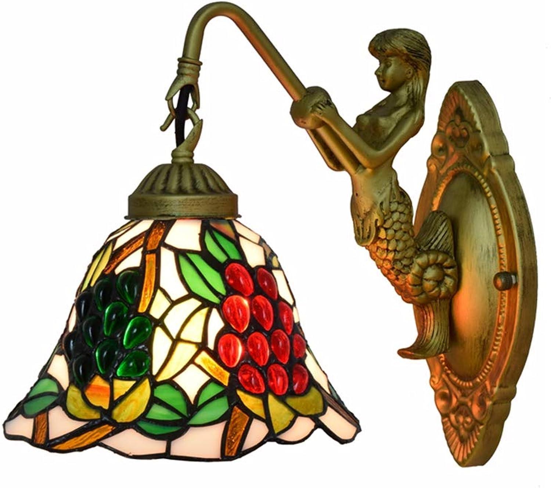 Europische Vintage Style LED Glasmalerei Schatten Wandleuchte Wandleuchte Dekorative Leuchte Nacht Schlafzimmer Cafe Restaurant Bar Beleuchtung,E