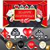 70 Pieces Casino Party Decoration Supplies Set, Include Casino Theme Birthday Backdrop, 4 Poker Suit Foil Balloons and 65 Latex Balloons for Las Vegas Casino Theme Party Casino Night Poker Events #2