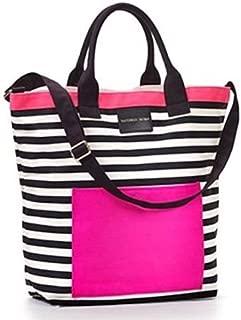Pink Black & White Striped Beach Tote Bag
