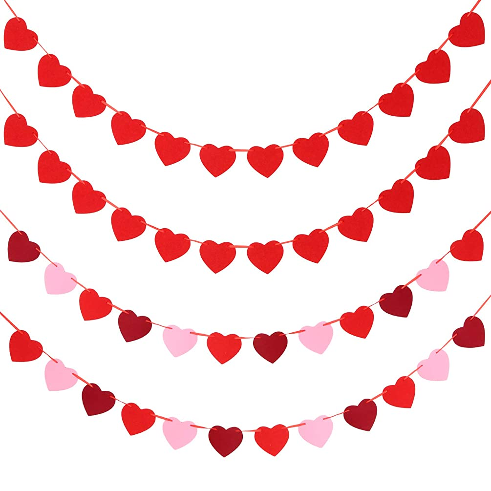 Tatuo 4 Sets Valentine's Day Heart Banners Felt Heart Garlands Holiday Hanging Decorations for Wedding Party Birthday Supplies (Color Set 3)