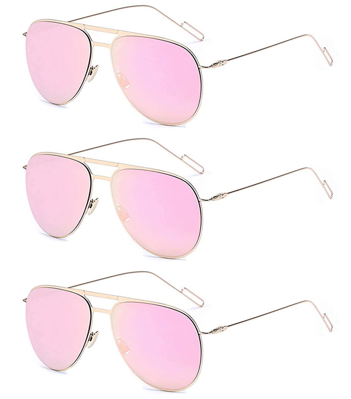 3 Pairs Classic Aviator Style Sunglasses Metal Frame Colored Lens