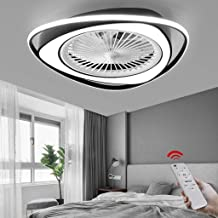 Ceiling Lamp Invisible Fan Lamp, LED Ceiling Fan with Lighting Function, 38W Pendant Lamp Dimmable, with Remote Control Ad...
