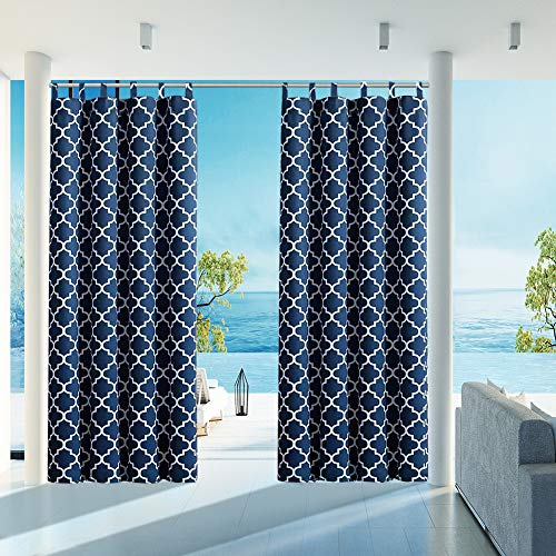 """HGmart Outdoor Patio Curtain Waterproof 50""""x120"""" Tab Gazebo Porch Curtains UV Ray Protected Fade Resistant and Mildew Resistant ,Dark Blue 1 Panel"""