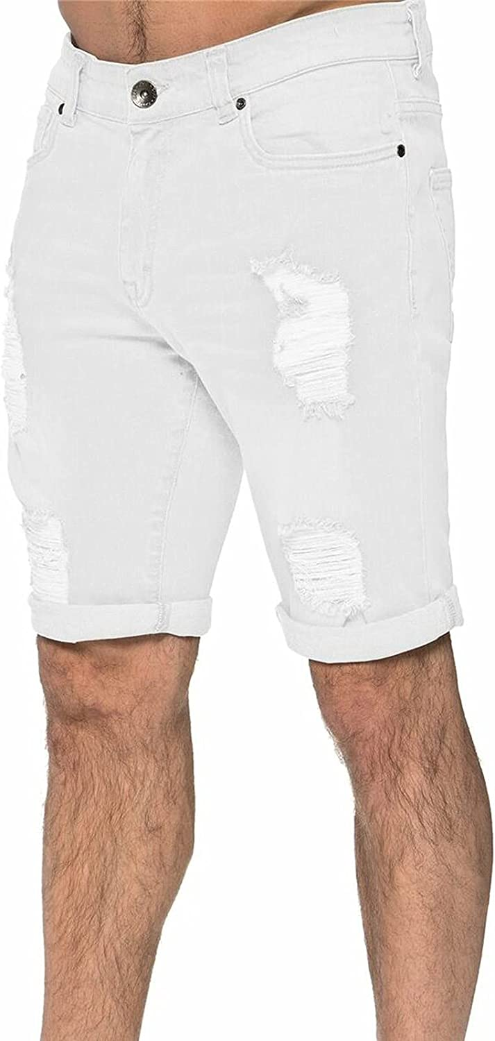 PHSHY 2021 Mens Ripped Denim Shorts Casual Fashion Stretch Straight Fit Trousers Summer Slim Jeans Shorts with Pockets