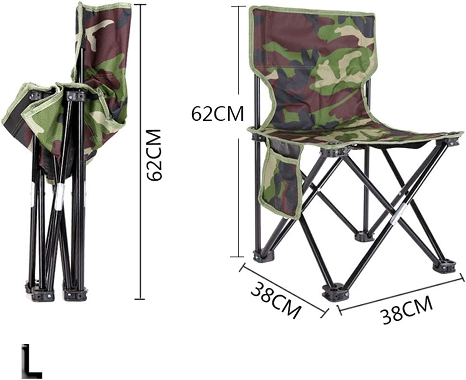 2 pcs of Outdoor Fishing Chair Camouflage Folding Chair Camping Hiking Chair Beach Picnic Rest Seat Stool 33 x 33 x 53cm