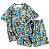 Camiseta de Moda + Pantalones de Playa para Mujer, Verano, Estampado en 3D, patrón de rosquilla, Serie, Traje de Camiseta, Traje Casual de Dos Piezas para Hombres y Mujeres-A_3XL