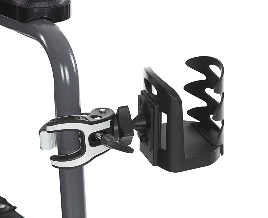 Vive Cup Holder - Attachable Cupholder for Stroller, Wheelchair, Desk, Water Bottle, Coffee Mug, Drink Glass & Can - Adjustable Mountable Clip for Bike, Rollator - Large, Universal & Portable w/Clamp