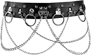 Women Faux Leather Harness Garter Belt Adjustable Waist Leg Body Caged with Punk Metal Chain