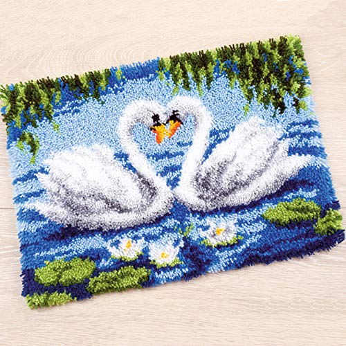 KIODS 52cm×38cm Latch Hook Kits Cross Stitch Carpet with Pre-Printed Canvas Crocheting Rug Make Your Own Rug for Kids and Adults,D4,85×63cm