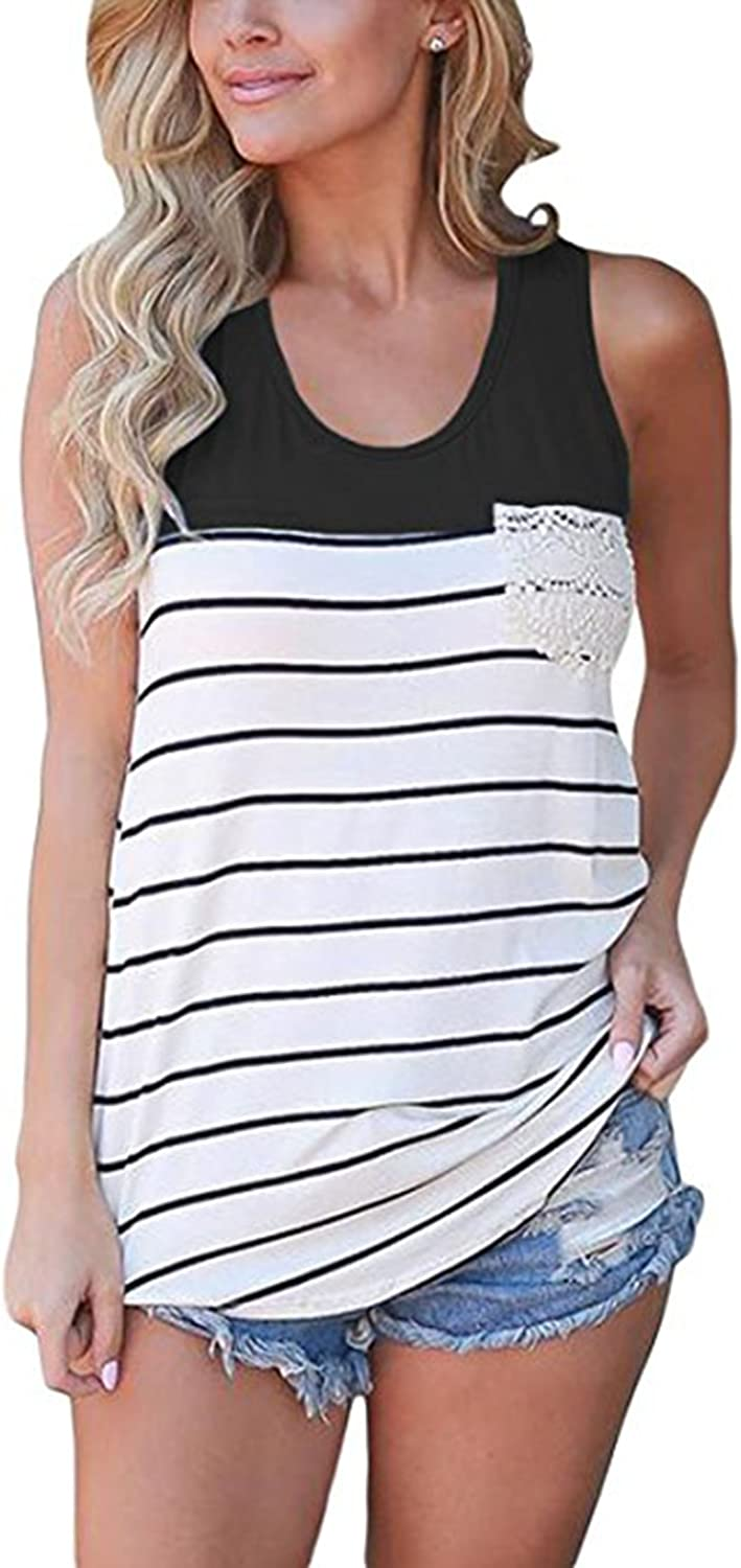 Hount Women's Summer color Block Striped Racerback Cami Tank Tops Sleeveless Tunic Tops TShirts