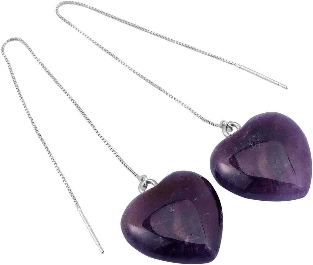 Nupuyai Heart Stone Earrings for Women, Healing Crystal Dangle Drop Tassel Thread Earrings Long Chain