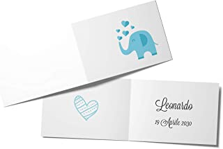 110 Biglietti Bomboniera Elefante Azzurro Battesimo