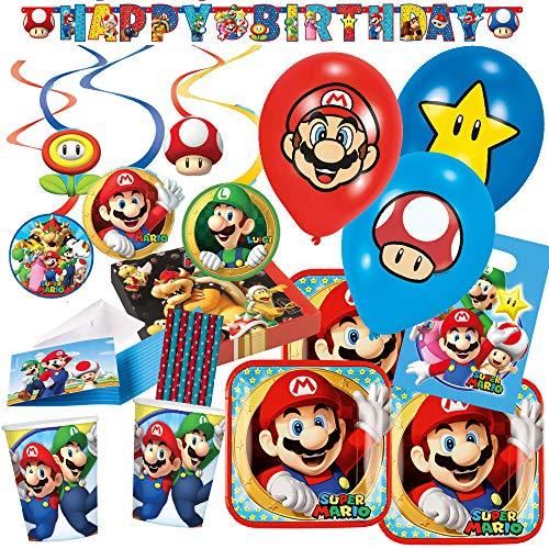 Set de fiesta de 79 piezas de Super Mario, platos, vasos, servilletas, guirnaldas, bolsas de fiesta, invitaciones, pajitas, globos para 8 niños