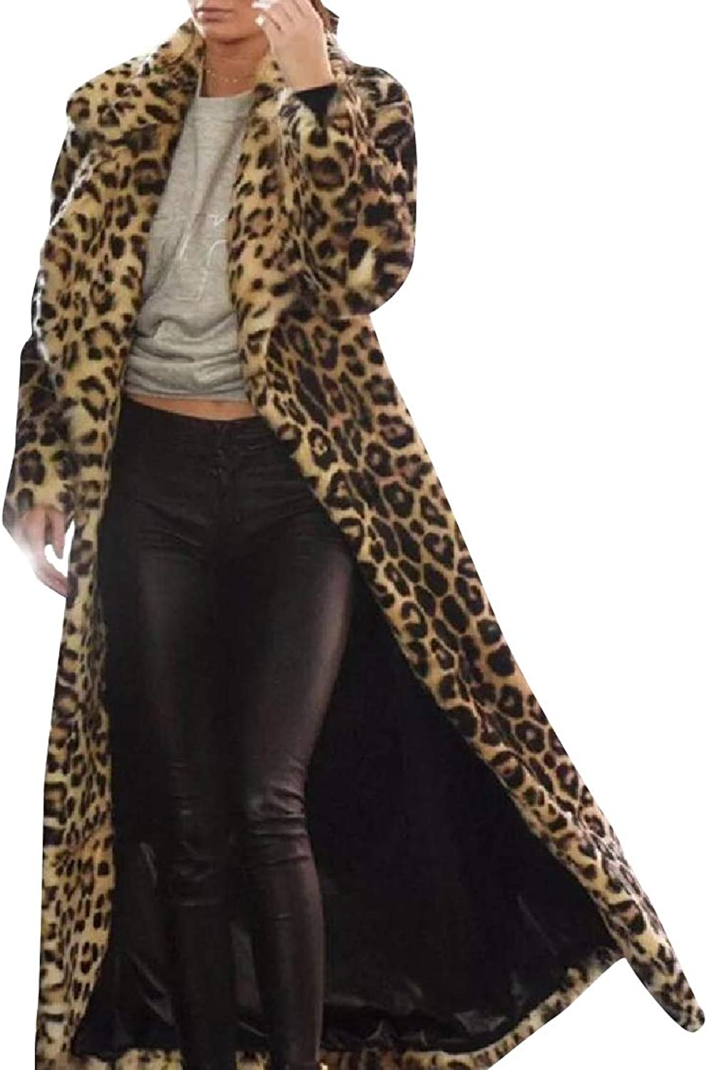 Baseby Women Leopard Sherpa Collar Stay Warm Open Front Coat Jacket