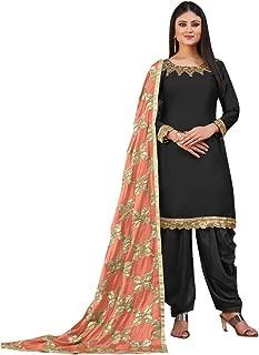 Black Patiyala Salwar Suit Satin Dress Material with Heavy Work Dupatta for Girls & Women Free Size 8442…