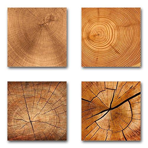 Holz - Set B schwebend, 4-teiliges Bilder-Set je Teil 29x29cm, Seidenmatte Moderne Optik auf Forex, UV-stabil, wasserfest, Kunstdruck für Büro, Wohnzimmer, XXL Deko Bild
