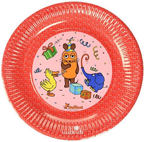 mabiente 972161 Die Maus Pappteller rot