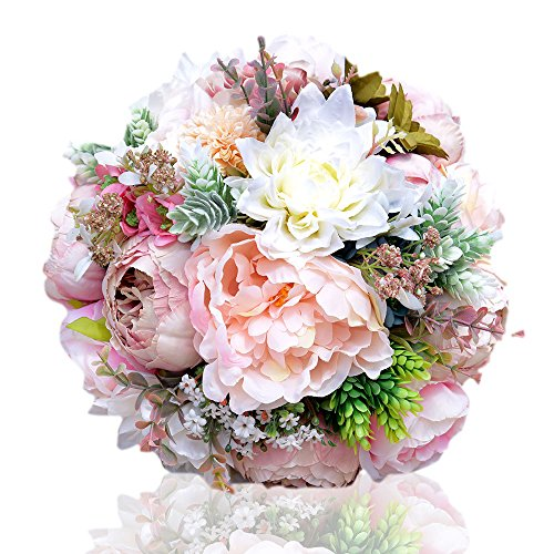 Abbie Home 9.5' Peony Rose Dahlia Bridal Wedding Bouquet Bride Holding Flowers Confession Bouquet