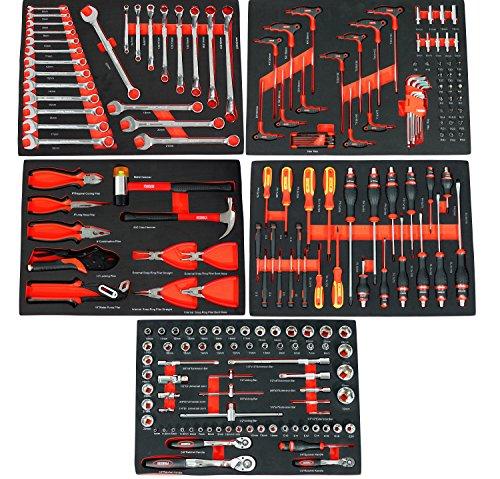 Ultra Edition Werkstattwagen | 7 Schubladen – 5 gefüllt mit Handwerkzeug | Werkzeugwagen abschließbar + COB Akku Arbeitsleuchte - 6