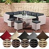 CLP Polyrattan Essgruppe Sorano | Komplett-Set: 1 Eckbank, 3 Hocker, 3er Sofa, 1 Tisch erhältlich Bezugsfarbe: Anthrazit, Rattanfarbe: Perlweiß