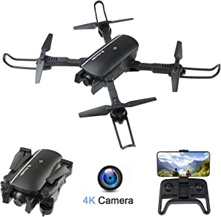 FPV WiFi Drone with 4K Camera Wide Angle Four-axis Foldable Drone Optical Flow Positioning/Altitude Hold/Headless Mode/Follow Me/APP Control/Gesture Control/Gravity Sensor, Compatible w/VR Headset