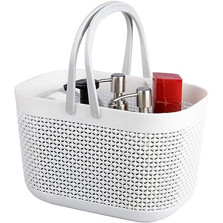 Panier rangement en plastique avec poignées, corbeille rangement, organisateur de bacs de douche pour salle de bain et cuisin(Lot de 1-Blanc)