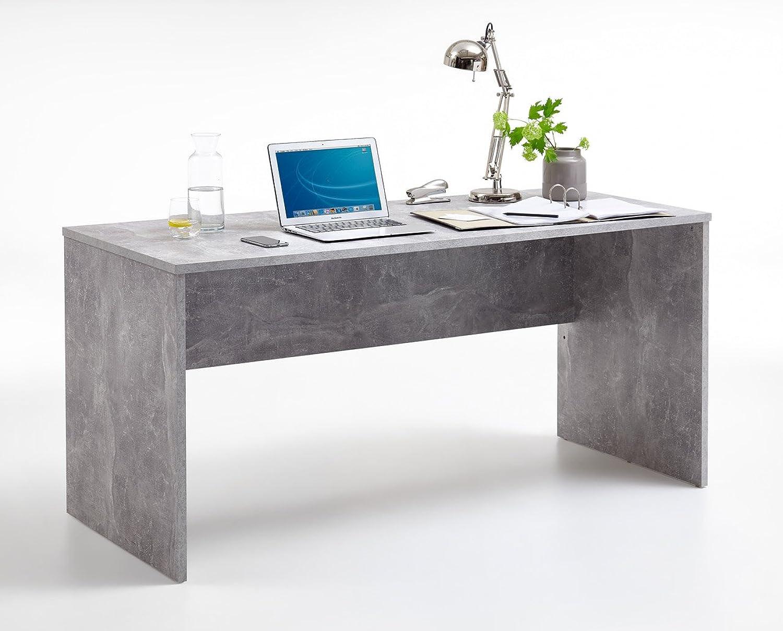 Lifestyle4living Schreibtisch, Bürotisch, Tisch, Ablage, Arbeitstisch, PC-Tisch, Arbeitsplatz, Computertisch, Büro-Arbeitsplatz, Beton-Dekor