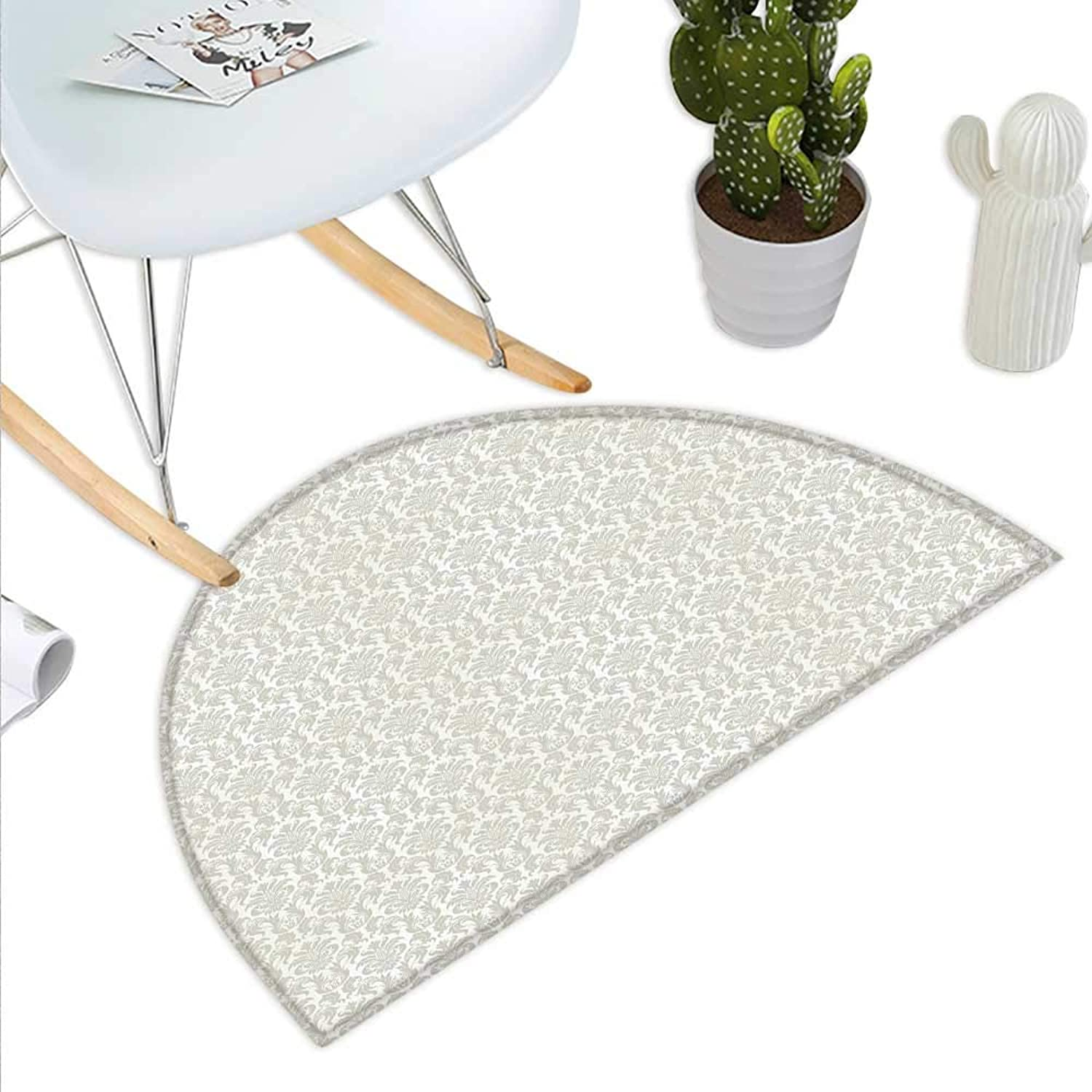 Damask Semicircle Doormat Abstract Floral Pattern Wedding Inspired Soft colord Design Complex Asian Motifs Halfmoon doormats H 35.4  xD 53.1  Cream Beige