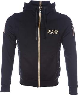 BOSS Saggy Full Zip Hooded Sweat Top in Black & Gold