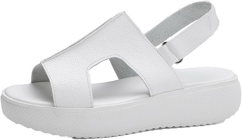 WeiPoot Women's Solid Pu Low-Heels Hook-and-Loop Sandals