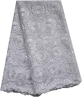 SanVera17 Manual Beading Glitter Stone African Lace Net Fabrics Nigerian Saree Fabric Embroidered and Guipure Cord Lace for Party Wedding (White) 5 Yards