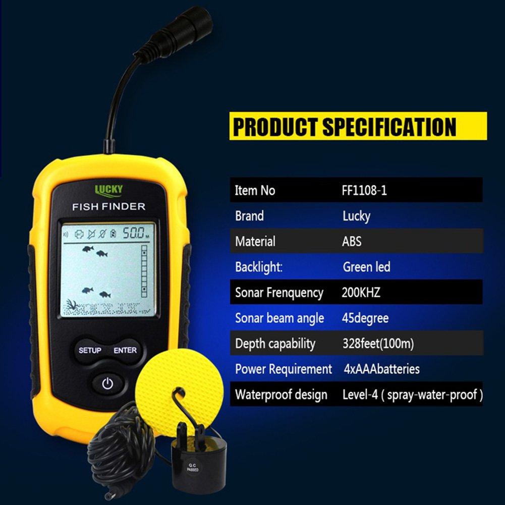 Lucky portátil con CABLE buscador de Profundidad Sonar transductor ...