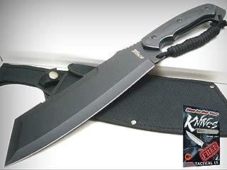 JUNGLE MASTER Black Fixed Machete SURVIVAL Cleaver Knife + Sheath JM-034 New! + free eBook by ProTactical'US