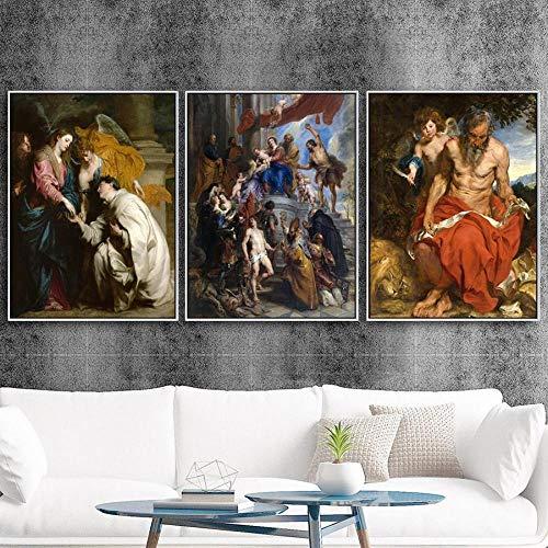 Woondecoratie Canvasdoek Muur Foto voor Woonkamer Poster Schilderijen Foto Religieuze Geloof Peter Paul Rubens-50x70cmx3 stks geen frame