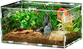 Serbatoio per rettili,Scatola di alimentazione con igrometro di temperatura per insetto ragni lucertola tartaruga Serbatoio di allevamento in acrilico trasparente Terrario per animali domestici,L