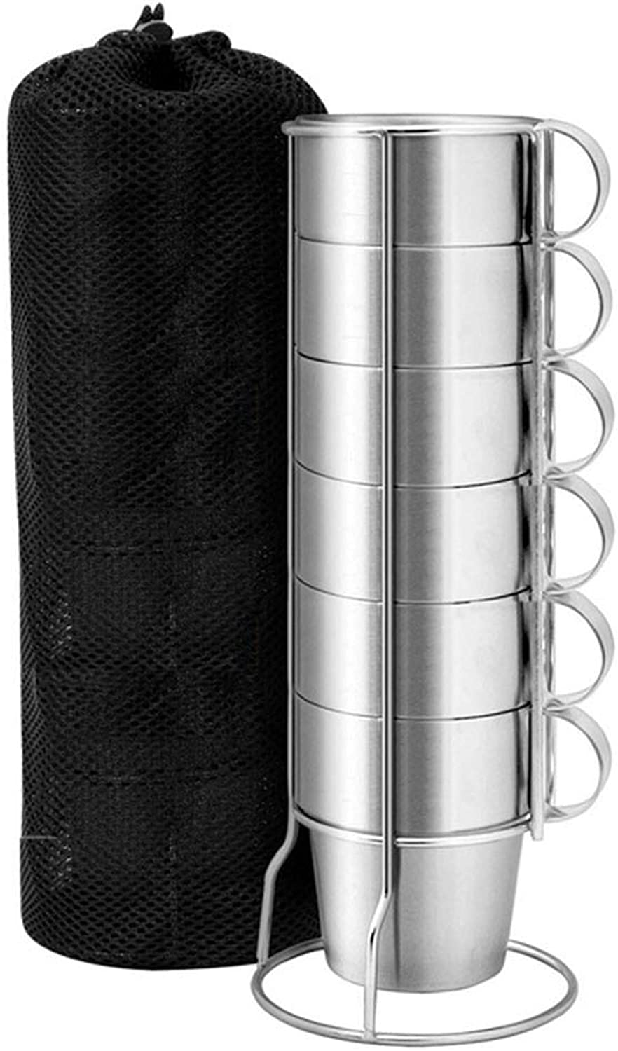 6 Pieces Double Layer Stainless Steel Water Drink Mugs AntiHot Tea Coffee Cups Set
